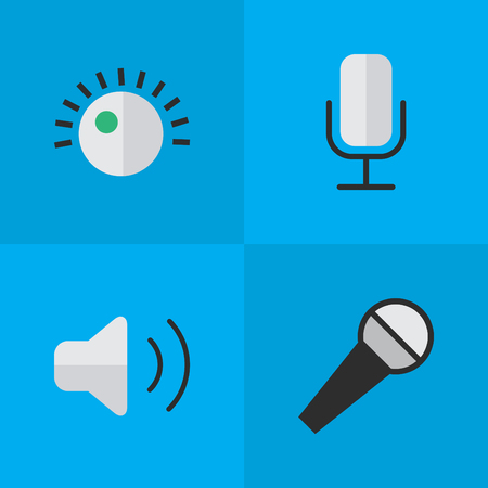 Vector Illustration Set Of Simple Melody Icons. Elements Regulator, Loudness, Mike And Other Synonyms Amplifier, Microphone And Sound.
