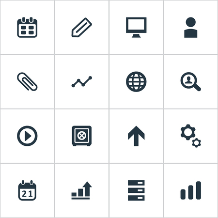 Vector Illustration Set Of Simple Entrepreneurship Icons. Elements Strongbox, Date, Graph And Other Synonyms World, Gear And Diagram. Illustration