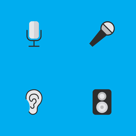 Vector Illustration Set Of Simple Sound Icons. Elements Speaker, Mike, Listen And Other Synonyms Loudspeaker, Speaker And Microphone.