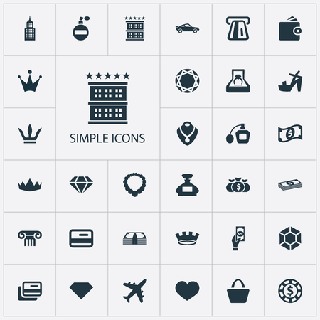 Vector Illustration Set Of Simple Money Icons. Elements Dollar, Plastic Card, Museum And Other Synonyms Brilliant, Retro And Wallet.