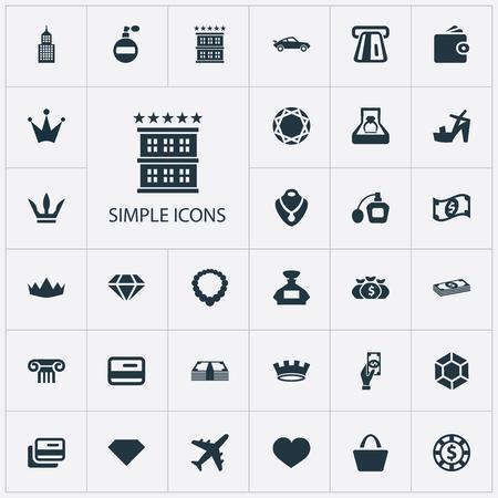 Vector illustratie Set van eenvoudige geld pictogrammen. Elementen Dollar, Plastic kaart, Museum en andere synoniemen briljant, retro en portemonnee. Stockfoto - 84402414