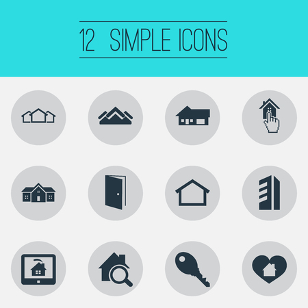Vector Illustration Set Of Simple Estate Icons. Elements Real Estate Database, Heart, Open Door And Other Synonyms Door, Protection And Residence. Ilustração