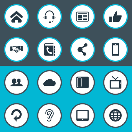 Vector Illustration Set Of Simple Network Icons. Elements Palmtop, Connection, Handshake Synonyms Phone, Device And Like.