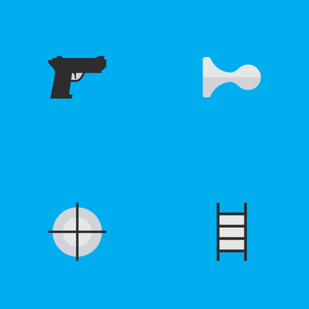 Vector Illustration Set Of Simple Offense Icons. Elements Hunting, Stairs, Weapon And Other Synonyms Gun, Target And Ladder.