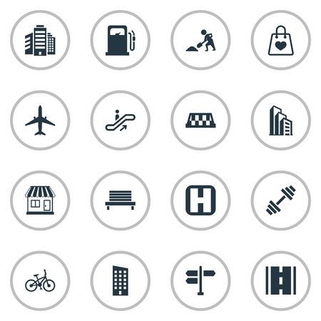 Vector Illustration Set Of Simple Infrastructure Icons. Elements Airplane, Dumbbell, Staircase And Other Synonyms Skyscraper, Driveway And Apartment.