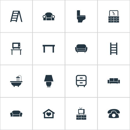 Vector Illustration Set Of Simple Furniture Icons. Elements Divan, Flat-Screen, Table And Other Synonyms Lounge, Cushion And Illuminator. Ilustração