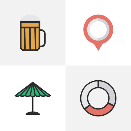 Vector Illustration Set Of Simple Travel Icons. Elements Parasol, Mark, Pub And Other Synonyms Mark, Alcohol And Pub. Illustration