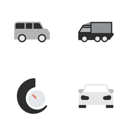 Vector Illustration Set Of Simple Shipping Icons. Elements Lorry, Speedometer, Minibus And Other Synonyms Speedometer, View And Car.