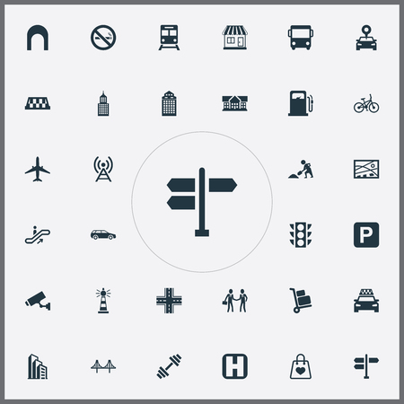Vector Illustration Set Of Simple City Icons. Elements Direction, Corporation, Skyscraper And Other Synonyms Light, Laborer And Train.