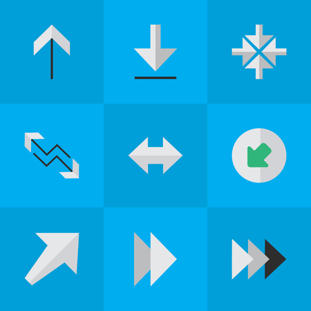 Vector Illustration Set Of Simple Arrows Icons. Elements Onward, Inside, Northwestward And Other Synonyms Inside, Northwest And Loading. Ilustração