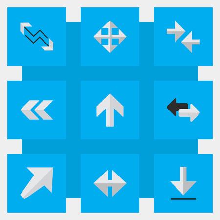 単純なインジケーター アイコンのベクター イラスト セット。要素をエクスポート、広げる、前後方向と南西部を他の同義語。  イラスト・ベクター素材