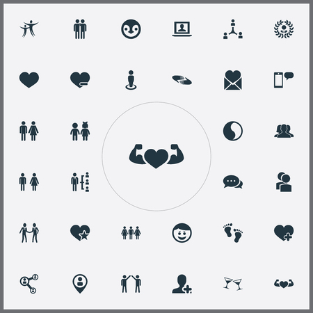 Vector Illustration Set Of Simple  Icons. Elements Pals, Message, Camaraderie And Other Synonyms Smile, Community And Couple. Illustration