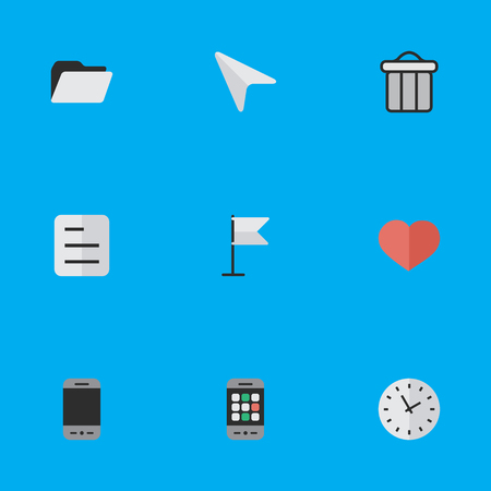 Vector Illustration Set Of Simple Interface Icons. Elements File, Smartphone, Heart And Other Synonyms Love, Junk And Page.