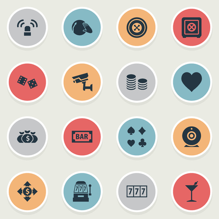 Vector Illustration Set Of Simple  Icons. Elements Bank, Wheel, Slot Machine And Other Synonyms Exchange, Bar And Dj.