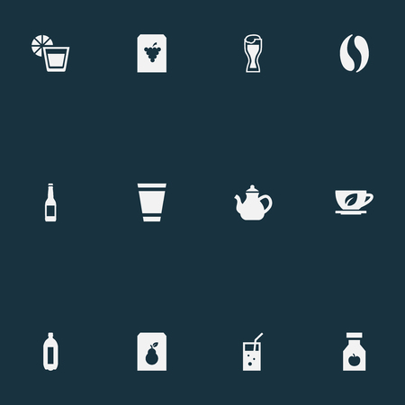 Vector Illustration Set Of Simple Beverage Icons. Elements Coffee, Lemonade, Juice And Other Synonyms Juice, Arabica And Water.