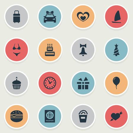 単純な休日のアイコンのベクトル イラスト セット。鳴って他の類義語国際旅行文書、新年シンボル要素の驚きとカップケーキ。 写真素材 - 84402543