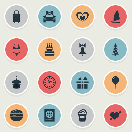 Vector Illustration Set Of Simple Holiday Icons. Elements Surprise, New Year Symbol, Travel Document And Other Synonyms International, Ringing And Cupcake.