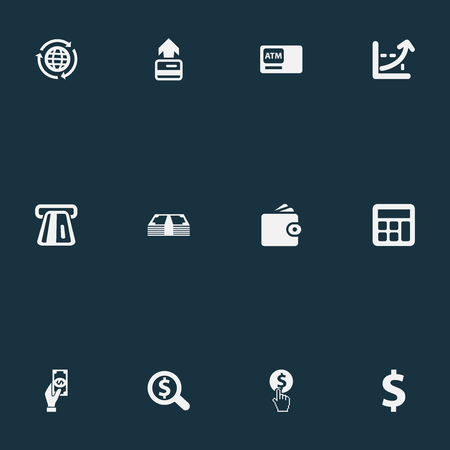 Vector Illustration Set Of Simple Banking Icons. Elements Investing, International Business, Increase Graph And Other Synonyms Rich, Increase And Payment.