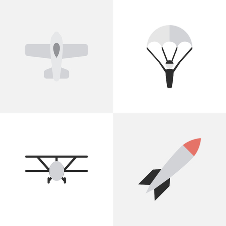 Vector Illustration Set Of Simple Airplane Icons. Elements Catapults, Bomb, Plane And Other Synonyms Parachute, Rocket And Dynamite.