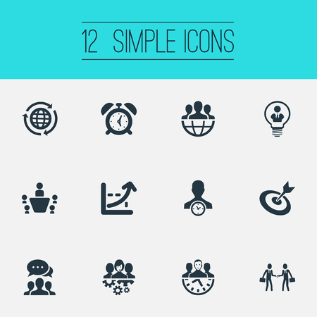 Vector Illustration Set Of Simple Plan Icons. Elements Watch, Cooperation, Global Trade And Other Synonyms Earth, Network And Globe.