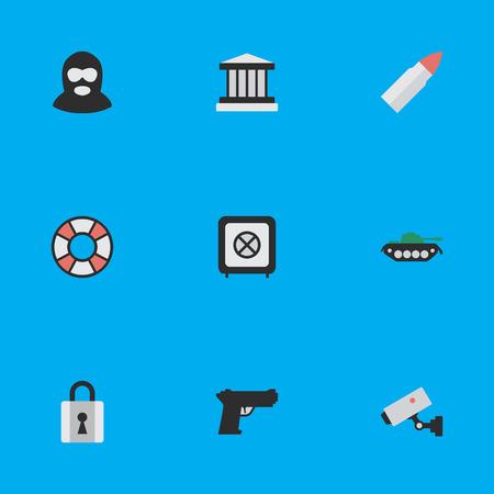 Vektor-Illustrations-Satz einfache Verbrechen-Ikonen. Elemente geschlossen, Grille, Lebensretter und andere Synonyme Sicherheit, gepanzert und erschossen. Standard-Bild - 84402554