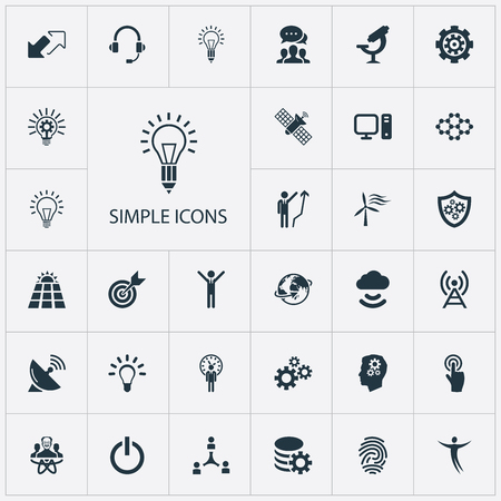 Vector Illustration Set Of Simple Creativity Icons. Elements Optical Instrument, Deadline, Target And Other Synonyms Energy, Shield And Creativity.