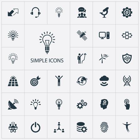 Vektor-Illustrations-Satz einfache Kreativitäts-Ikonen. Elemente Optisches Instrument, Frist, Ziel und andere Synonyme Energie, Schild und Kreativität.