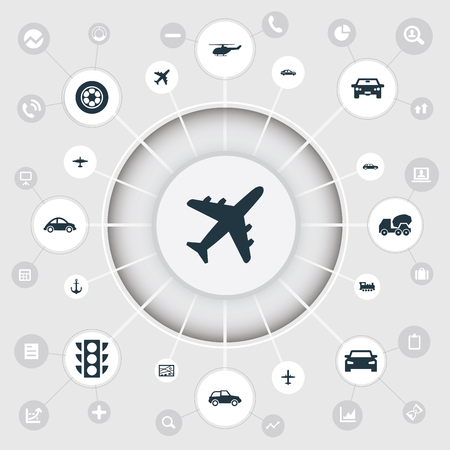 単純な交通機関アイコンのベクター イラスト セット。要素都市計画、蒸気機関車、自動車、他類義語機関車計画とエアバス。