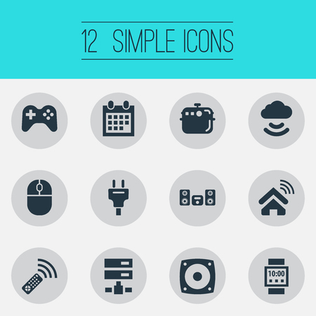 Vector Illustration Set Of Simple Internet Icons. Elements Multimedia Center, Socket, Storage Acceess And Other Synonyms Multimedia, Calendar And Oven.