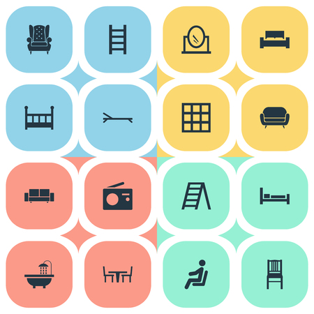 Vector Illustration Set Of Simple Furniture Icons. Elements Stairway, Vintage Accessory, Transmission And Other Synonyms Cushion, Transmission And Bath. Illustration