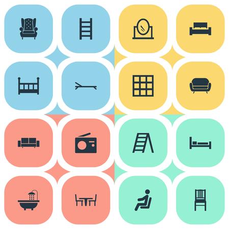 Vector Illustration Set d'icônes de meubles simples. Éléments Stairway, Accessoire Vintage, Transmission Et Autre Synonymes Coussin, Transmission Et Bain. Banque d'images - 84402569