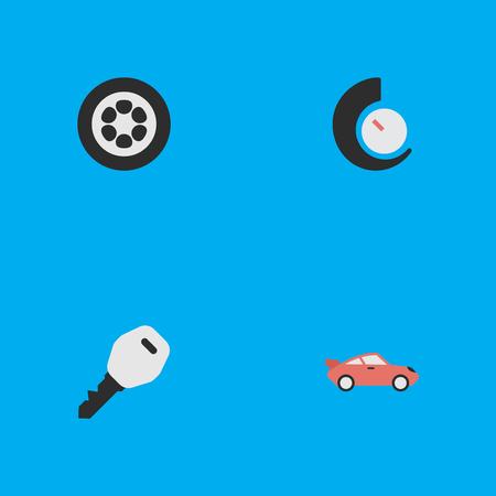 簡単な出荷アイコンのベクター イラスト セット。要素クーペ、ホイール、スピード メーター、他の同義語のホイール スピード メーターとタイヤ。