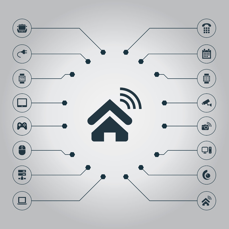 Vector Illustration Set Of Simple Internet Icons. Elements Date Block, Smart House, Touchpad And Other Synonyms Device, Plug And Almanac.