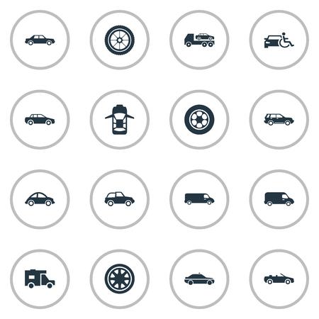 簡単な自動アイコンのベクター イラスト セット。要素サイレン、運輸、運転、その他のシノニム トラック、トラック、トラック運送。