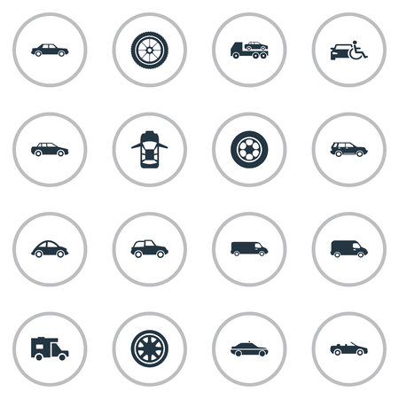 Vector Illustration Set Of Simple Auto Icons. Elements Siren, Transit, Driving And Other Synonyms Track, Truck And Trucking.