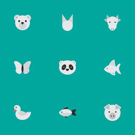 Vector Illustration Set Of Simple Animals Icons. Elements Piggy, Moth, Kine And Other Synonyms Seafood, Perch And Milk.