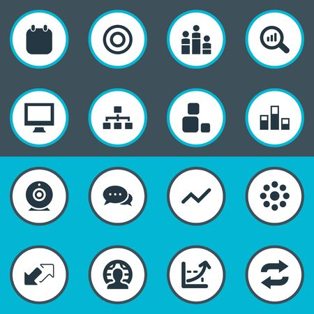 Vector Illustration Set Of Simple Seminar Icons. Elements Arrows, Increase Graph, Repeat And Other Synonyms Monitor, Enlarge And Career. Stock Vector - 84399880