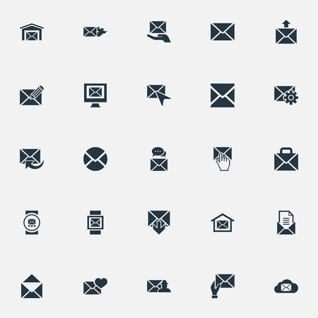 Vector Illustration Set Of Simple Mail Icons. Elements Envelope, Cursor, Letter And Other Synonyms Web, Send And Valentine.