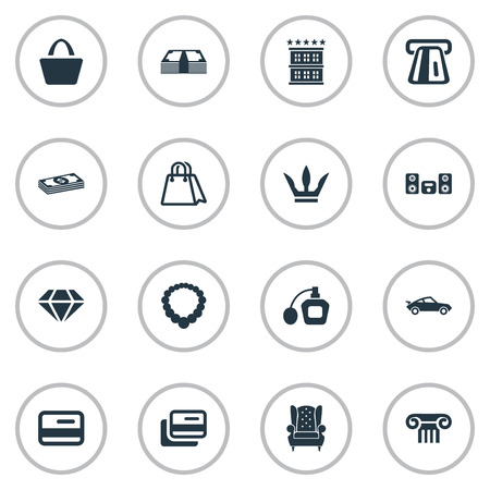 Vector Illustration Set Of Simple Fashion Icons. Elements Bag, Perfume, Vintage Automobile And Other Synonyms Coins, Furniture And Payment. Illustration