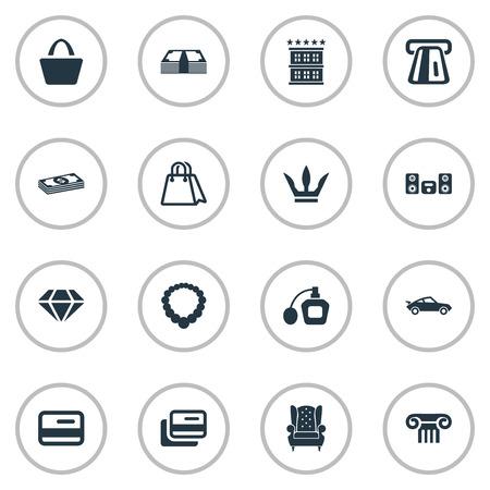 Vector illustratie Set van eenvoudige mode-iconen. Elementen tas, parfum, vintage auto en andere synoniemenmunten, meubels en betaling. Stock Illustratie