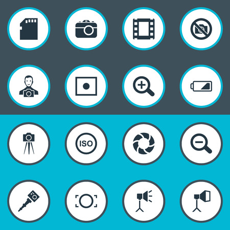Vector Illustration Set Of Simple Photographer Icons. Elements Energy, Registration, Light Level And Other Synonyms Micro, Square And Charge. Illustration