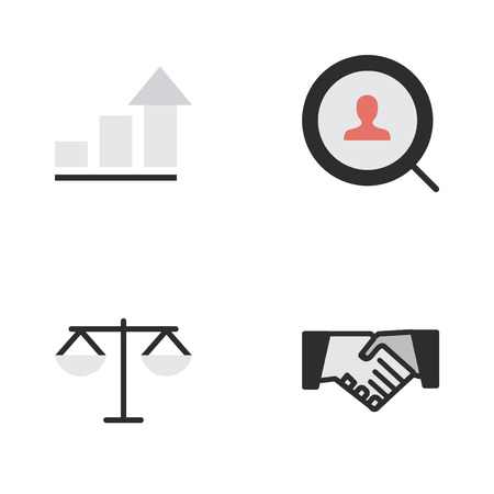 Vector Illustration Set Of Simple Trade Icons. Elements Magnifier, Agreement, Growing And Other Synonyms Search, Magnifier And Handshake. Illustration