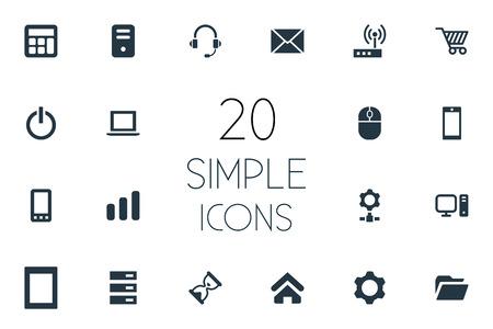 単純なデバイスのアイコンのベクトル イラスト セット。要素の歯車、ホーム、ノート パソコンと他のフリーランスの類義語、パームトップ、ハー