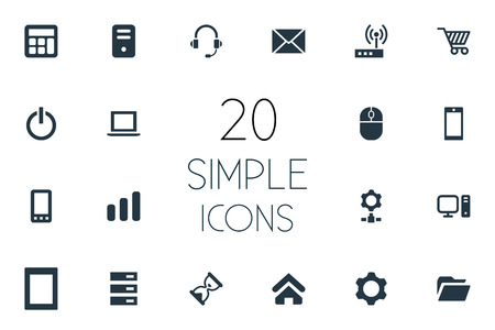 Vector Illustration Set Of Simple Device Icons. Elements Cogwheel, Home, Laptop And Other Synonyms Freelance, Palmtop And Hardware.