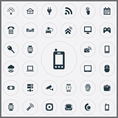 Vector Illustration Set Of Simple Internet Icons. Elements Game Controller, Surveillance, Date Block And Other Synonyms Things, Identification And Internet. Ilustrace