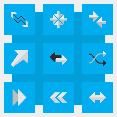シンプルな矢印のアイコンのベクトル イラスト セット。前方の要素、南西、背面、後方に、その他のシノニム次と警告。