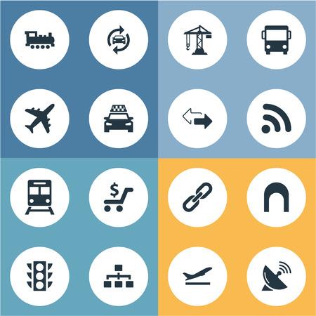 シンプルなシティ アイコンのベクター イラスト セット。要素の建設用クレーン、自動サービス、レトロな機関車、他類義語鉄道機関車と反対側。  イラスト・ベクター素材