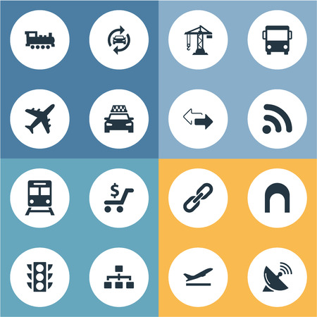 Vector illustratie Set van eenvoudige stad iconen. Elementen Bouwkraan, Autoservice, Retro locomotief en andere synoniemenrail, locomotief en tegenoverliggend.