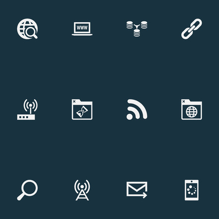 Vector Illustration Set Of Simple Network Icons. Elements Magnifier, Loading, Wifi And Other Synonyms Tower, Modem And Letter.