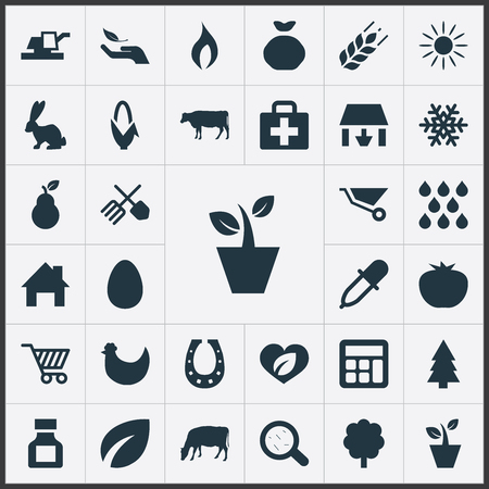 insolación: Ilustración vectorial Conjunto de iconos agrícolas simples. Elementos del equipo hortícola, duquesa, ganado y otros sinónimos de ganado, carro y árbol de hoja perenne.